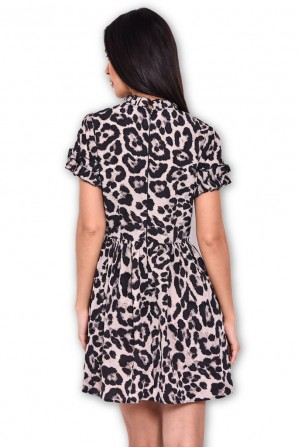 Women's Animal Print Frill Detail Skater Dress