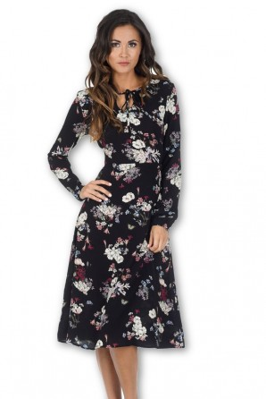 Women's Black Floral Long Sleeve Swing Dress