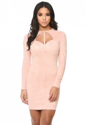 Women's Pink Suede Strappy Bodycon Dress