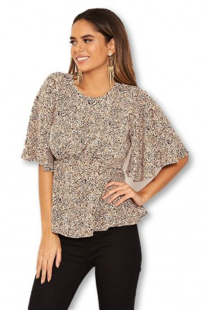 Women's Beige Printed Frill Blouse