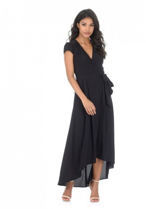 Women's Black Capped Sleeve Waterfall Dress