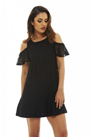 Women's Lace Cold Shoulder Swing  Black Dress