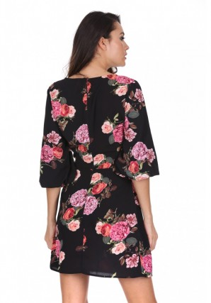Women's Black Floral Ruched Sleeve Dress