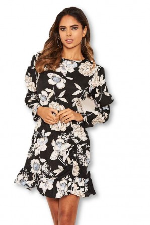 Women's Black Floral Print Long Puff Sleeve Dress