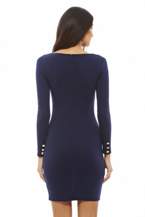 Women's Button Front Bodycon Navy Dress