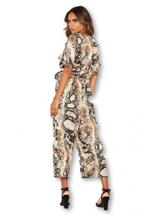 Women's Snake Printed Culotte Jumpsuit With Tie Belt