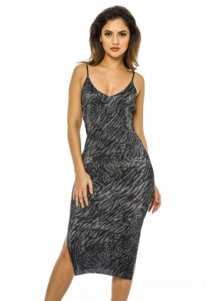 Women's Khaki Crinkle Fabric Strappy Dress