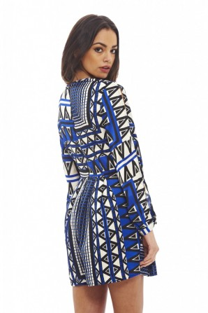 Women's Geometric Printed  Blue Romper