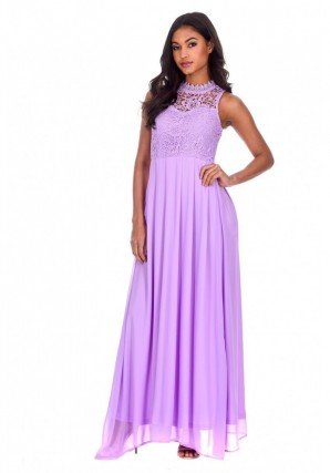 Women's Lilac High Neck Crochet Maxi Dress