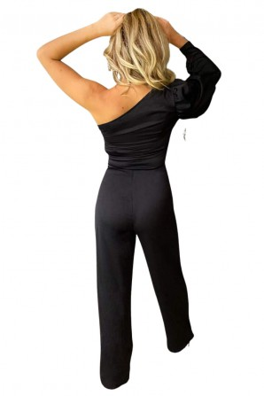 Women's Black One shoulder Puff Sleeve Jumpsuit