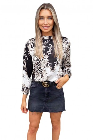 Women's Black Mixed Print High Neck Frill Top