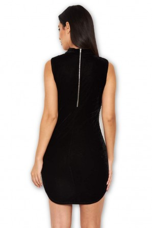 Women's Black Velvet High Neck Dress With Sequin Front