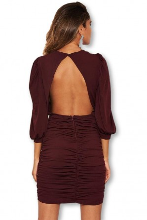 Women's Plum Ruched Bodycon Dress With Cut Out Back