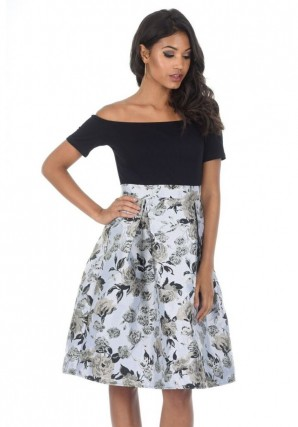 Women's Black Silver Contrast 2 In 1 Floral Dress