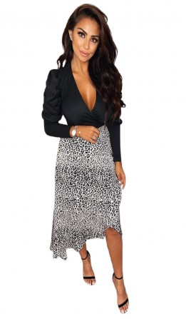 Women's Black 2 in 1 Animal Print Wrap Dress