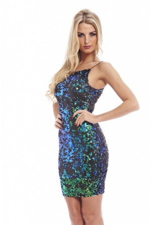 Women's Colored Sequin Covered Bodycon Blue Dress