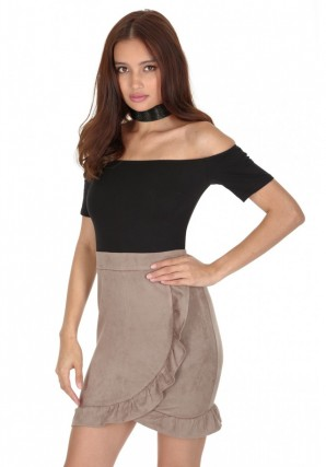Women's Mocha Bardot 2 In 1 Frill Dress