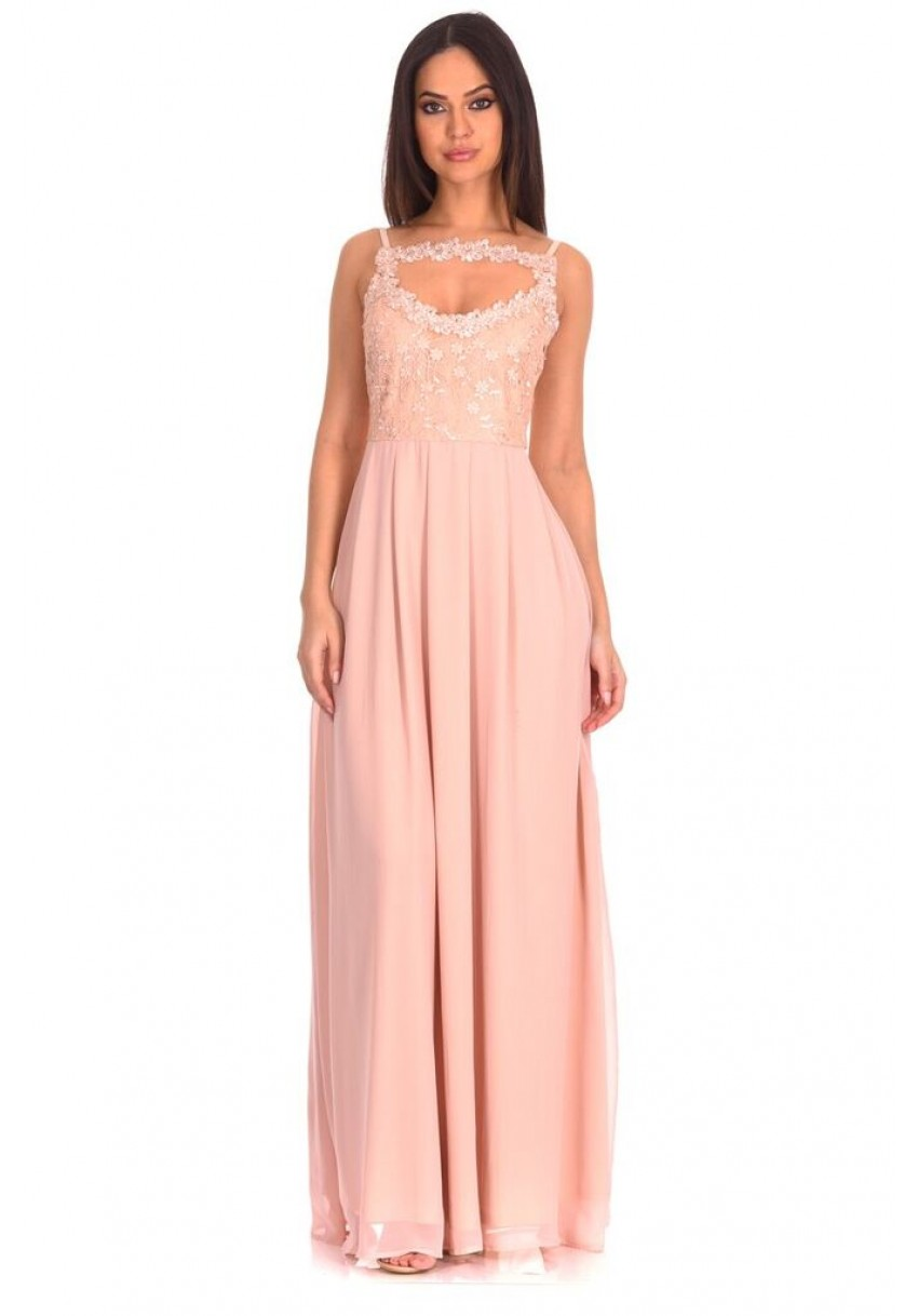 3b44e4395e65 Women s Nude Crochet Top Maxi Dress - AX Paris USA-Fashion Dresses ...