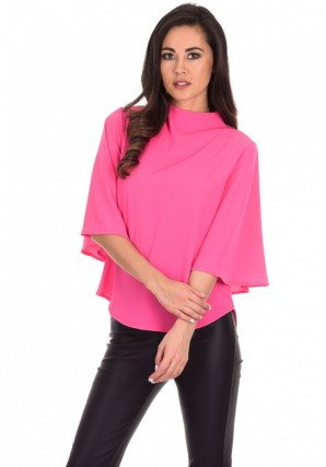 Women's Cerise Flared Sleeve Top