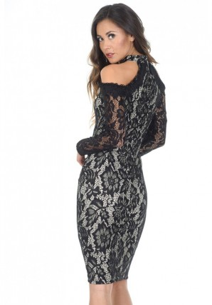 Women's Black and Nude Midi High Neck Lace Dress