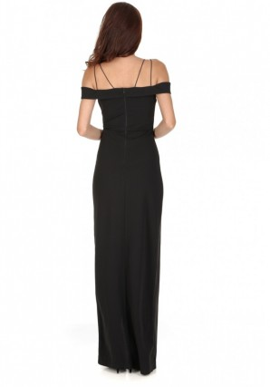 Women's Black Strappy Off The Shoulder Side Split Maxi Dress