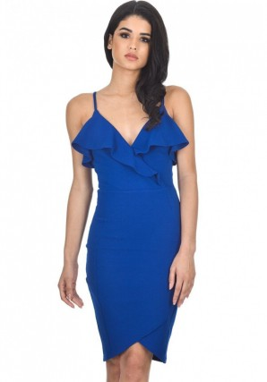 Women's Blue Wrap Over Dress Featuring Frill Detail