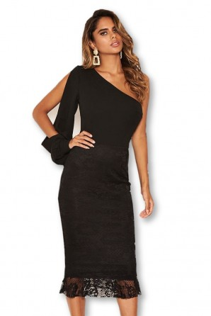 Women's Black Shoulder Split Sleeve Lace Bodycon Midi Dress