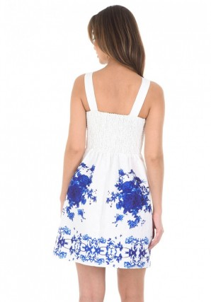 Women's Cream And Blue Embossed Skater Dress