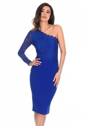 Women's Cobalt Lace Detail Asymmetric Midi Dress