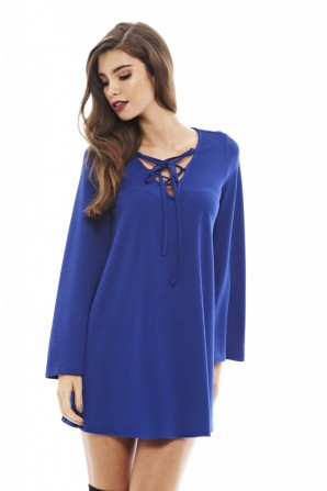 Women's Lace Up Swing  Blue Dress