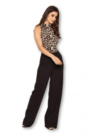 Women's 2 in 1 Animal Print High Neck Jumpsuit