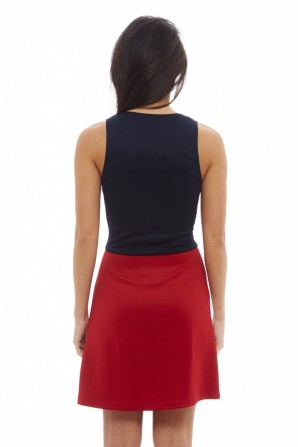 Women's Colour Block Zip Front Navy Red Dress