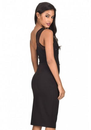 Women's Black One Shoulder Sequin Embroidered Bodycon