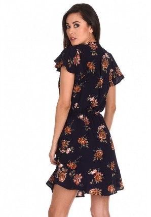 Women's Navy Floral Frill Detail Dress