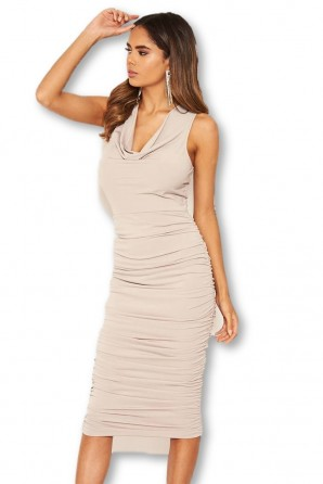 Women's Silver Cowl Neck Ruched Side Midi Dress
