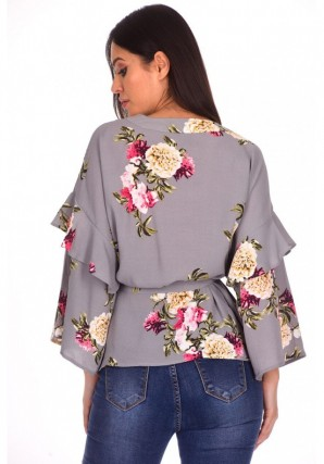 Women's Grey Floral Print Wrap Top