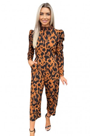 Women's Camel Animal Printed Ruched Sleeve Jumpsuit