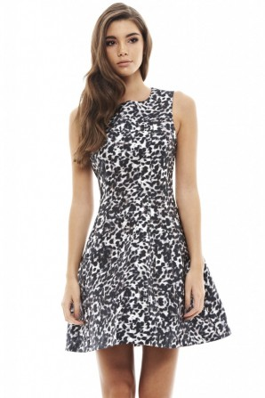 Women's Leopard Print Skater Dress