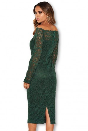 Women's Teal Off The Shoulder Lace Dress