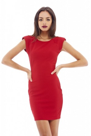 Women's Waffle Bodycon Shoulder Red Dress