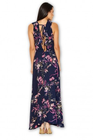 Women's Navy Floral Dip Hem Dress