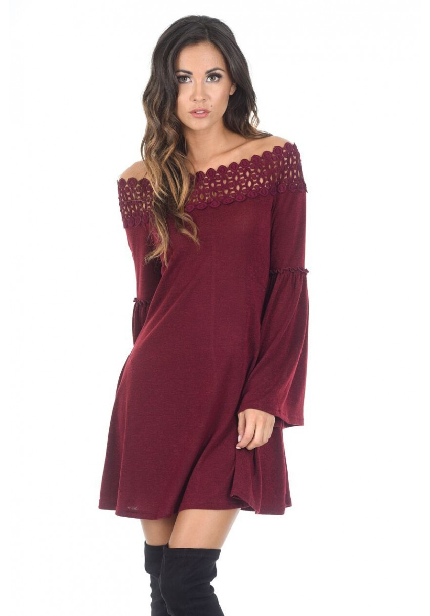 98901333304 Home · Clothing  Women s Wine Off The Shoulder Frill Swing Dress. Image 1.  Image 2. Image 3. Image 4. Image 1