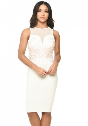 Women's Cream Sheer Top Bodycon With Lace Detail