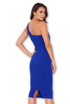 Women's Blue One Shoulder Strap Midi Dress