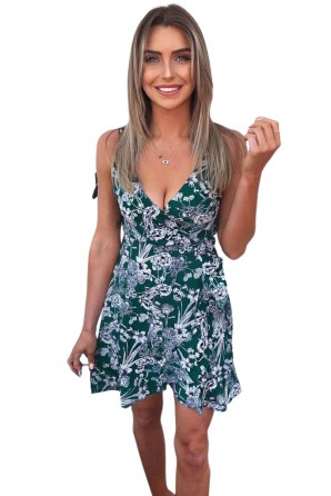 Women's Green Floral Wrap Frill Dress