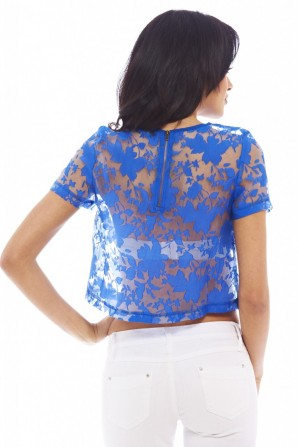 Women's Sheer Lacecroppedblue Top