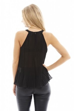 Women's Pleated High Neck Black Top