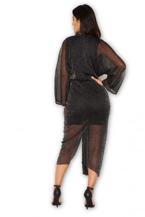 Women's Black Sparkle Wrap Dress With Plunge Neck