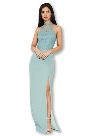 Women's Duck Egg Crochet Top High Neck Maxi Dress