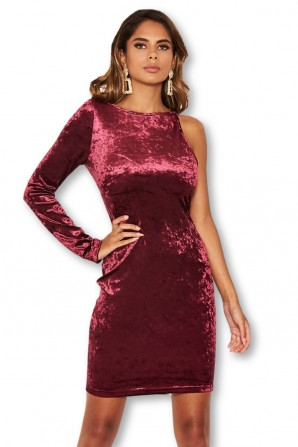 Women's Plum Crushed Velvet One Sleeve Dress
